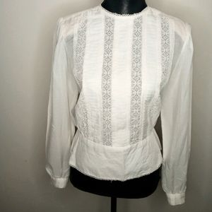 Victorian Ivory Long Sleeved Blouse-M